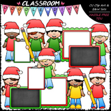Big Grin Santa Hat Kids - Clip Art & B&W Set