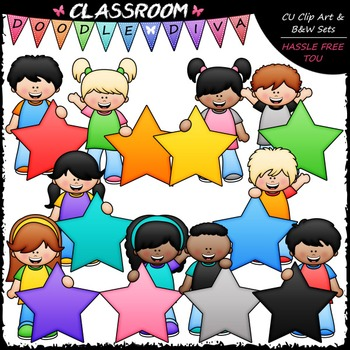 Big Grin Star Students Clip Art - Star Kids Clip Art & B&W Set