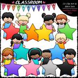 Big Grin Star Students Clip Art - Star Kids Clip Art & B&W Set