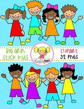Big Grin Stick Kids Clipart