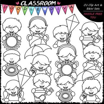 Big Grin Summer Topper Kids - Clip Art & B&W Set