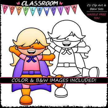 Big Grin Superhero Kids - Clip Art & B&W Set