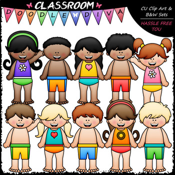 Big Grin Swimsuit Kids - Clip Art & B&W Set