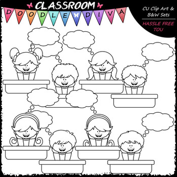 Big Grin Thought Bubble Students - Clip Art & B&W Set