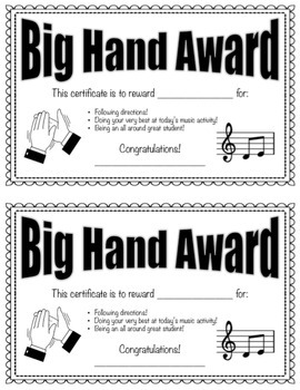 Big Hand Award: Editable reward system for the elementary music classroom