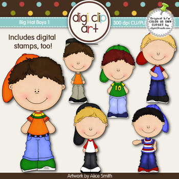 Big Hat Boys 1 -  Digi Clip Art/Digital Stamps - CU Clip Art