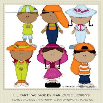 Big Hat Kids Clip Art Graphics Set 2 African American Children