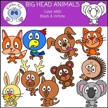 Big Head Animals Clip Art