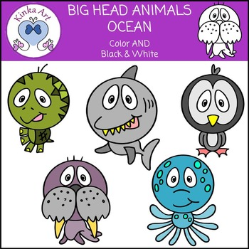 Big Head Animals (Farm & Ocean) Clip Art