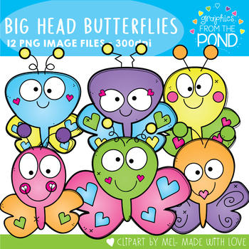 Big Head Butterflies Clipart Set