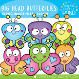 Big Head Butterflies Clipart Set