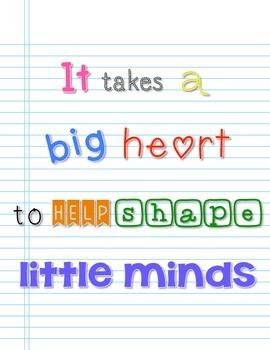 Big Heart Little Minds Free Printable