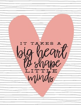 photograph relating to It Takes a Big Heart to Shape Little Minds Printable named Huge Center Printable