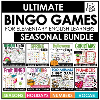 Big Holiday Theme Bingo Game Bundle - 10 Different Games