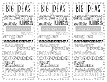 Big Idea BOOKMARK for Geometry