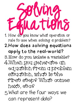 Big Idea Poster: Solving Equations