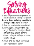 Big Idea Poster: Solving Equations