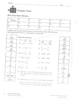 Big Ideas 8th Grade Math Curriculum Chapters 1-4