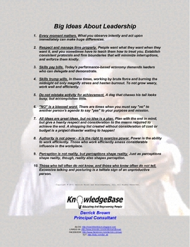 """""""Big Ideas About Leadership"""" Handout / Poster"""