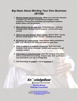 """Big Ideas About MYOB"" Handout / Poster"