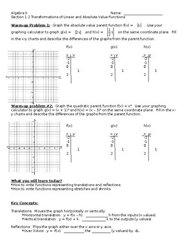 Big Ideas Alg. 2 Textbook, Section 1.2 Notes