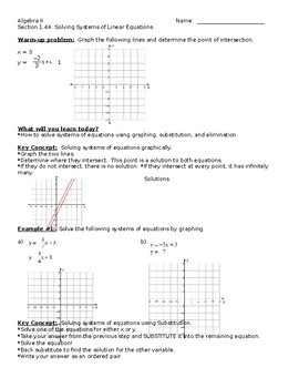Big Ideas Alg. 2 Textbook, Section 1.4A Notes Sheet