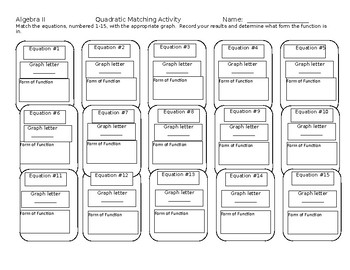 Big Ideas Alg. 2 Textbook Section 2.2 Matching Activity Recording Sheet