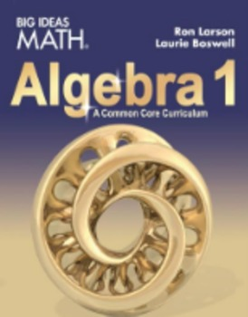 Big Ideas Algebra 1 Homework  Ch 3       96% Pass rate in 2016 and 100% in 2017