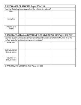Big Ideas Blue Book (8th Grade) Math Chapter 8 Vocabulary Sheet