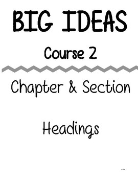 Big Ideas - Course 1 - Chapter & Section - Binder Resource