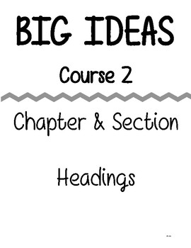 Big Ideas - Course 2 - Chapter & Section - Great for Binders