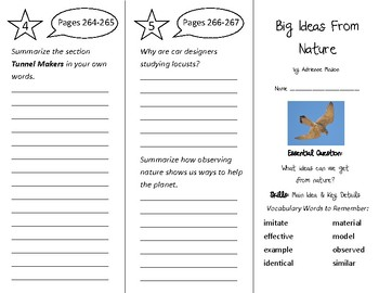 Big Ideas From Nature Trifold - Wonders 3rd Grade Unit 3 Week 4