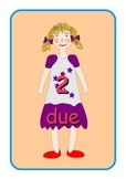 Big Italian Numbers 0 to 10  Flashcards .Cute dolls pictures .A4 size