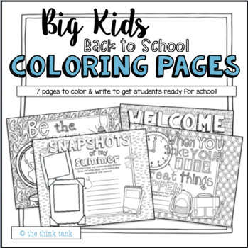 Big Kids: Back to School Coloring Pages (Motivational Quotes ...