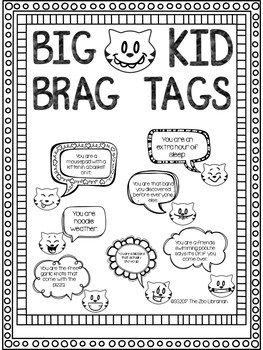 Big Kid Brag Tags (for upper elementary/middle schoolers)