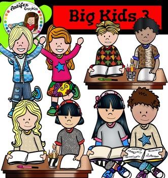 Big Kids 3 clip art - Color and black/white