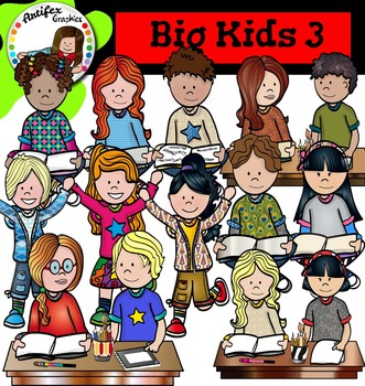 Big Kids 3 clip art - Color and black/white