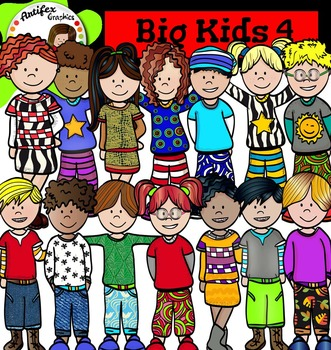 Big Kids 4 clip art - Color and black/white
