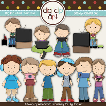 Big Kids And Their Toys -  Digi Clip Art/Digi Stamps - CU Clip Art