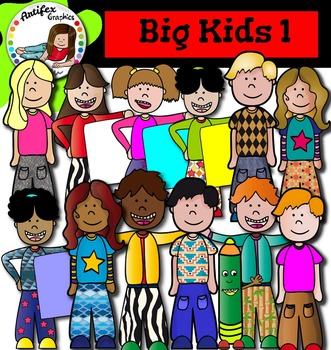 Big Kids 1 Clip art - Color and black/white- 53 items!