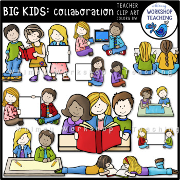 Big Kids Collaborating Clip Art - Whimsy Workshop Teaching