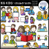Big Kids Collaborating Clip Art