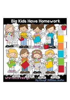 Big Kids Have Homework Clipart Collection