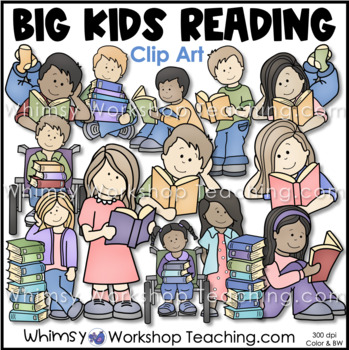 Big Kids Reading and Books Clip Art