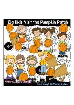 Big Kids Visit the Pumpkin Patch Clipart Collection
