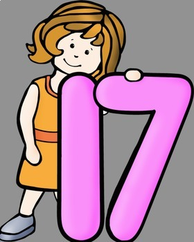 Big Kids With Numbers 11 to 20 Clip Art