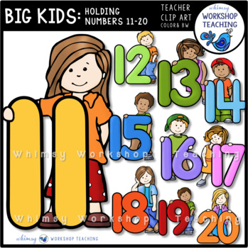 Big Kids With Numbers 11 to 20 Clip Art - Whimsy Workshop