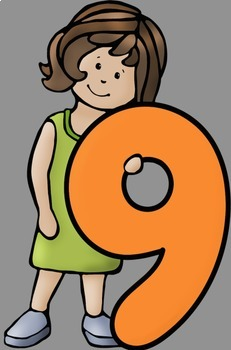 Big Kids With Numbers 0 to 10 Clip Art
