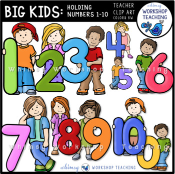 Big Kids With Numbers 0 to 10 Clip Art - Whimsy Workshop Teaching