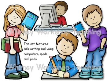 Big Kids Writing and Technology Clip Art